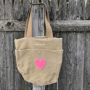 Life is Good HEART Carry-On Canvas Tote Bag FIESTA PINK Straps /& Bottom NWT!